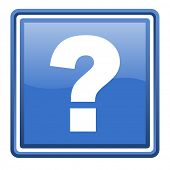 question mark blue glossy square web icon isolated