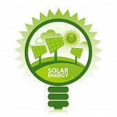 Green eco solar energy design concept. Clean energy generated by the sun.