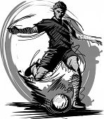 Soccer Kick Sketch Vector Illustration