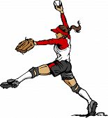 image of softball  - Vector Illustration of a Softball Player Pitching Ball - JPG