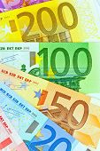 euro money banknotes of the european union. a fan made of euro money isolated against white backgrou