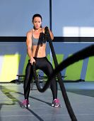 image of battle  - battling ropes at gym workout fitness exercise - JPG