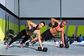 picture of kettlebell  - Gym man and woman push - JPG