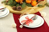 pic of tangerine-tree  - beautiful christmas table setting with tangerines and fir tree - JPG