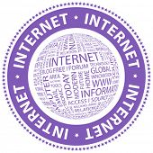 INTERNET. Word collage. Vector stamp.