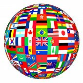 stock photo of longitude  - flags of the world in globe format - JPG