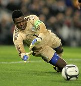 BARCELONA - JAN, 2: Nigerian goalkeeper Chigozie Agbim in action during the friendly match between Catalonia and Nigeria at Estadi Cornella on January 2, 2013 in Barcelona, Spain