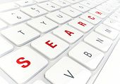Search Word Written On Modern Shiny White Keyboard