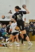 SIOFOK, HUNGARY - JANUARY 5: Andrea Seric in action at a Hungarian National Championship handball ma
