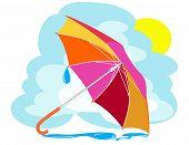 Постер, плакат: Цвет зонтик с дождь падает против неба