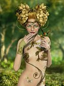 stock photo of fairyland  - an illustration of a nymph who lives in the forest with two songbirds - JPG