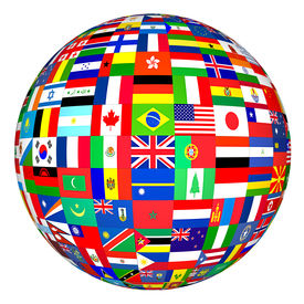 stock photo of flags world  - flags of the world in globe format - JPG