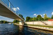 Pedestrian Bridge Over The Spree River In Berlin, Germany