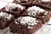 Brownie With Chocolate And Coconut Flakes