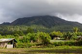 stock photo of gunung  - The Mount Batur in Bali in Indonesia - JPG