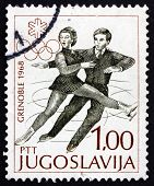 Postage Stamp Yugoslavia 1968 Figure Skating, Pair, Olympic Spor