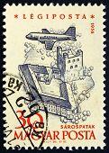 Postage Stamp Hungary 1958 Plane Over Sarospatak