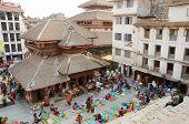 People visiting vegetable street market at Durbar Square,Kathmandu,Nepal