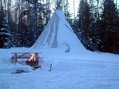 image of cree  - keeping warm on winter camping event - JPG