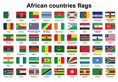 Set Of African Countries Flag Buttons