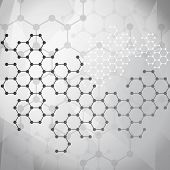 foto of hexagon  - Abstract molecules medical background - JPG