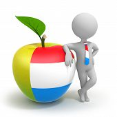 Apple With Luxembourg Flag And Businessman