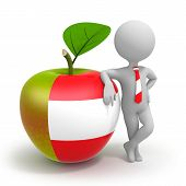Apple With Austria Flag And Businessman