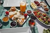 stock photo of continental food  - Rich traditional Turkish breakfast on the table - JPG