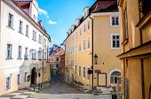 foto of cobblestone  - View on the narrow cobblestoned street in Prague Czech Republic - JPG