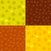 Set Of Autumn Seamless Patterns