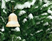 Christmas Golden Bell On Christmas Tree