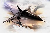 foto of jet  - Tree Air Force Fighter Jets in Action 3D Render Illustration - JPG