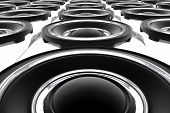stock photo of subwoofer  - Large Bass Speakers Wall - JPG