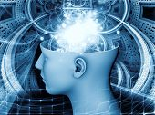 picture of compose  - Backdrop composed of human head and symbolic elements and suitable for use in the projects on human mind consciousness imagination science and creativity - JPG