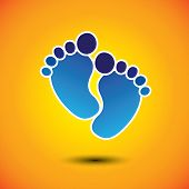 Baby's Or Toddler's Foot Mark In Blue On Orange Background - Vector Graphic