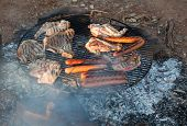 Barbecued Meat And Sausages. Bush Camping. Flinders Ranges. South Australia.