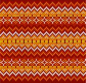 picture of knitwear  - Red ornate zigzag stripes vector Christmas knit seamless pattern - JPG