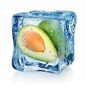 Mango in ice cube