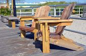 Adirondack Style Chairs On The Boardwalk