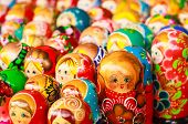 Colorful Russian Nesting Dolls At The Market