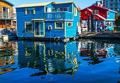image of houseboats  - Floating Home Village Blue Red Houseboats Fisherman - JPG