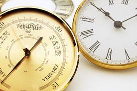 picture of barometer  - Clock and barometer dials or bezels focus on barometer face  - JPG