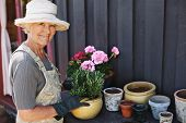 Senior Woman Planting Flowers In A Pot