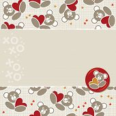 foto of teddy  - white beige yellow orange red animal childish seamless pattern with little teddy bears holding hearts and torn paper and glossy button with a teddy bear on right scrapbook background - JPG