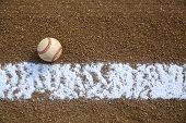 picture of infield  - Worn Baseball near the Infield Chalk Line with room for copy - JPG