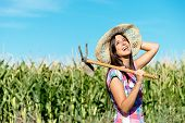 stock photo of hoe  - Successful female farmer carrying hoe in corn field and smiling - JPG