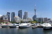 Toronto skyline with lake Ontario
