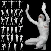 Collection Of Bandaged Mummies Isolated On Black Background