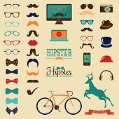 pic of moustache  - Hipster Colorful Retro Vintage Vector Icon Set - JPG