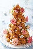 Croquembouche with Pink and White Frosting Roses